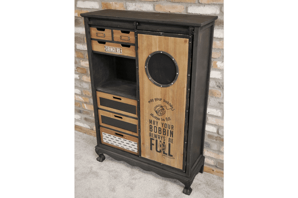 Industrial Metal Sewing Storage Cabinet Grey